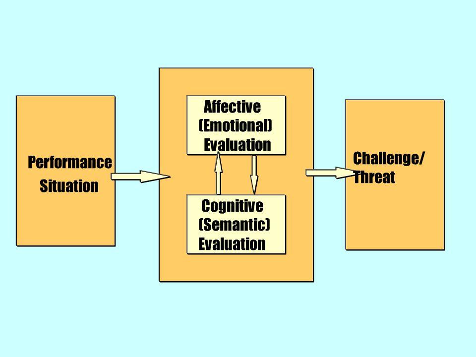 Performance Situation Affective (Emotional) Evaluation Cognitive (Semantic) Evaluation Challenge/ Threat