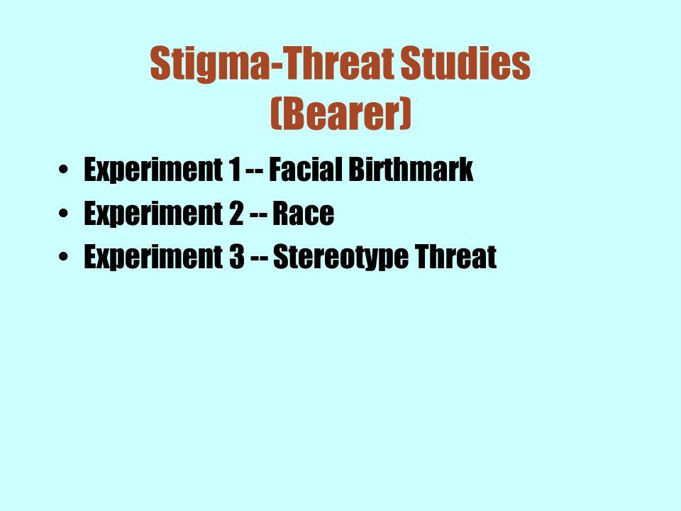 Stigma-Threat Studies (Bearer) Experiment 1 -- Facial Birthmark Experiment 2 -- Race Experiment 3 -- Stereotype Threat