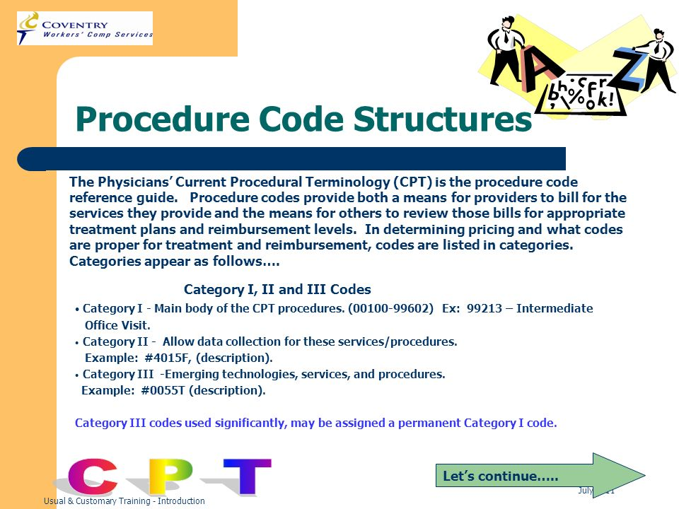 Usual & Customary Training - Introduction July 2011 Procedure Code Structures Lets continue….. The Physicians Current Procedural Terminology (CPT) is