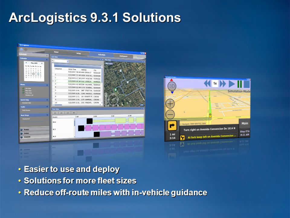 Easier to use and deployEasier to use and deploy Solutions for more fleet sizesSolutions for more fleet sizes Reduce off-route miles with in-vehicle guidanceReduce off-route miles with in-vehicle guidance ArcLogistics 9.3.1 Solutions