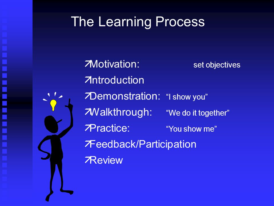 The Learning Process Motivation: set objectives Introduction Demonstration: I show you Walkthrough: We do it together Practice: You show me Feedback/Participation Review