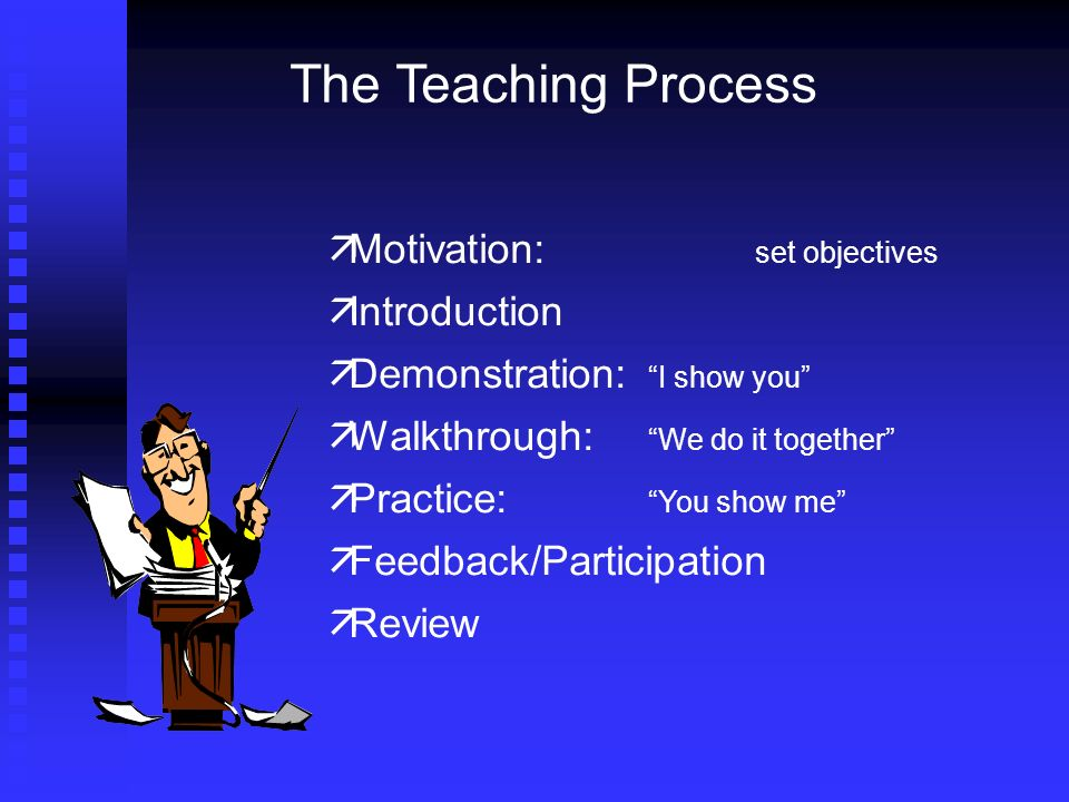 Motivation: set objectives Introduction Demonstration: I show you Walkthrough: We do it together Practice: You show me Feedback/Participation Review The Teaching Process