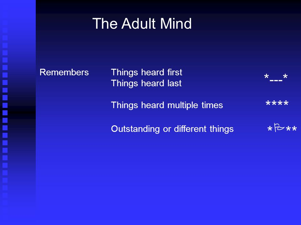 The Adult Mind RemembersThings heard first Things heard last Things heard multiple times Outstanding or different things * --- * **** * ** P