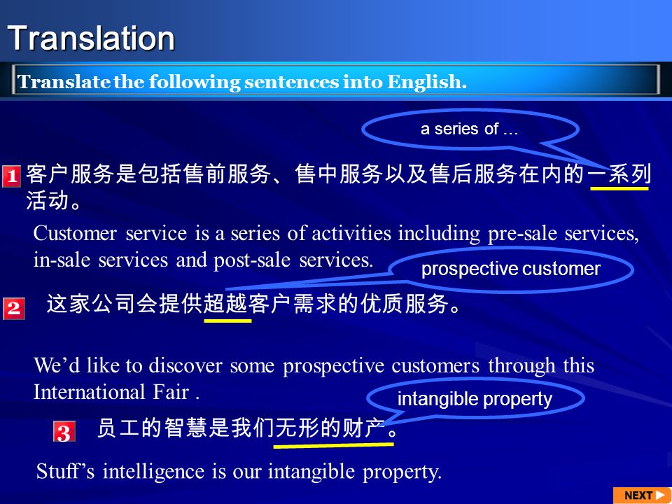 Translation Translate the following sentences into English. 2 1 a series of … prospective customer Customer service is a series of activities includin