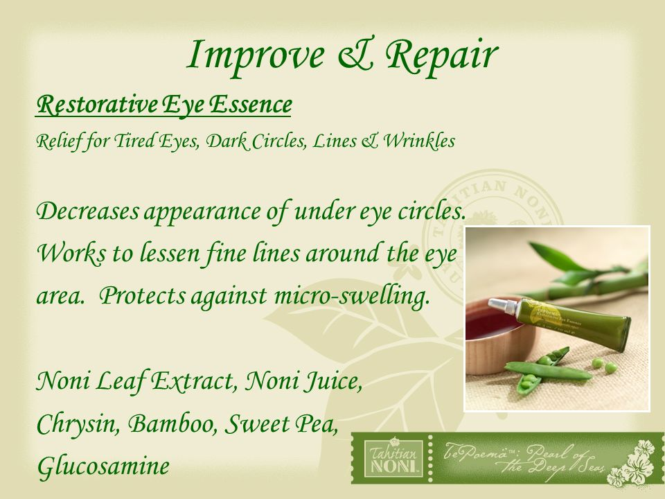Improve & Repair Restorative Eye Essence Relief for Tired Eyes, Dark Circles, Lines & Wrinkles Decreases appearance of under eye circles. Works to les