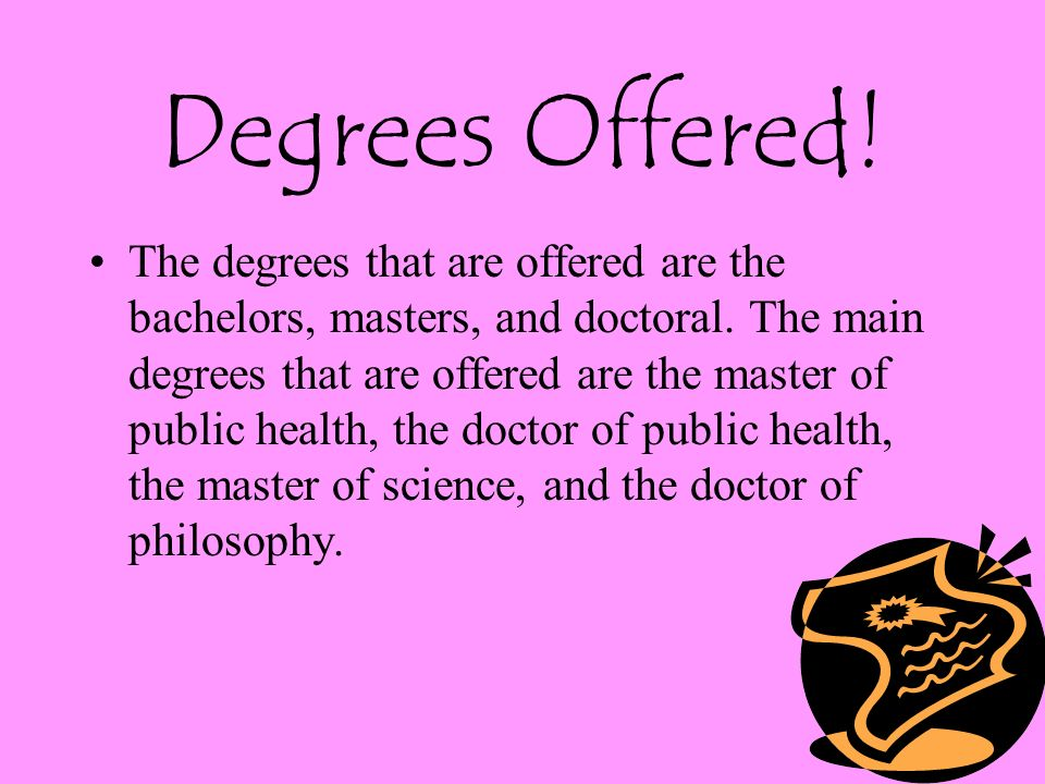 Degrees Offered. The degrees that are offered are the bachelors, masters, and doctoral.