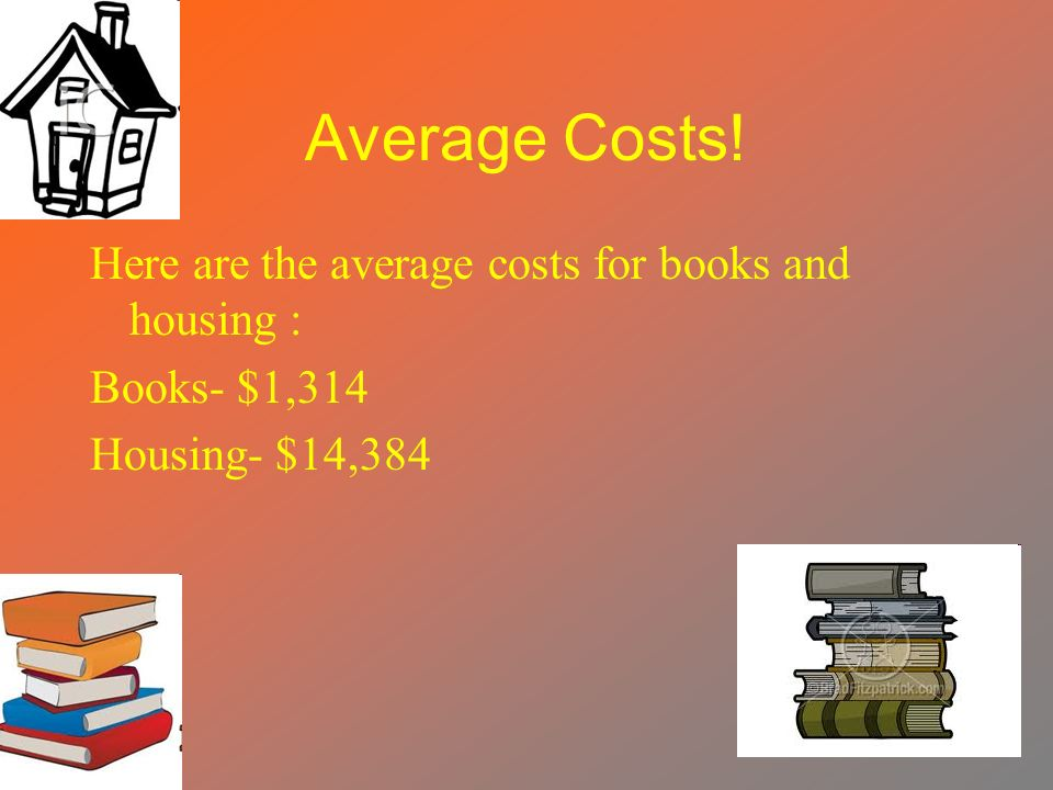 Average Costs! Here are the average costs for books and housing : Books- $1,314 Housing- $14,384
