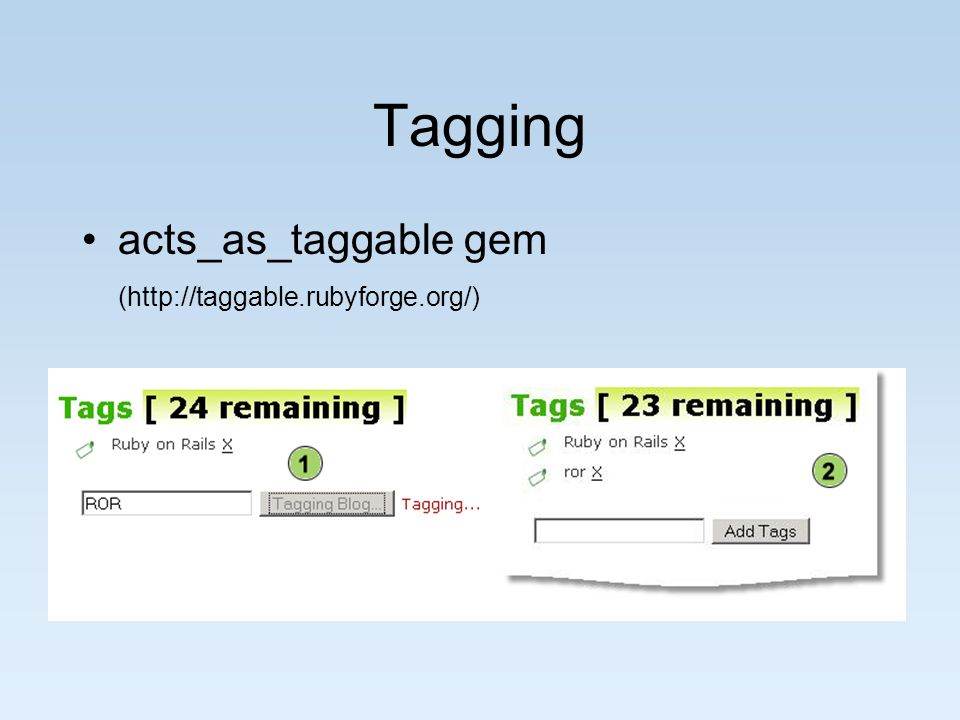 Tagging acts_as_taggable gem (http://taggable.rubyforge.org/)