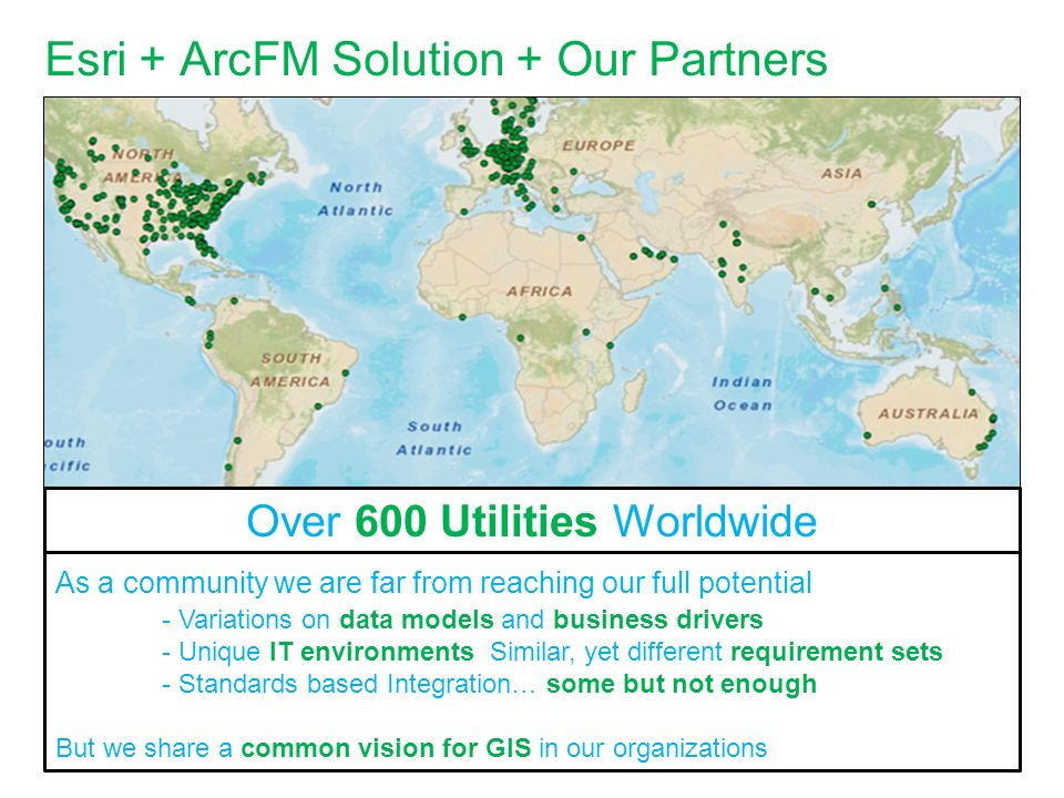 Esri + ArcFM Solution + Our Partners As a community we are far from reaching our full potential - Variations on data models and business drivers - Uni