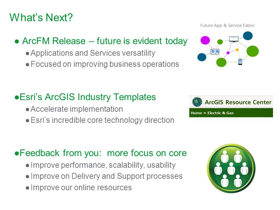 Whats Next? ArcFM Release – future is evident today Applications and Services versatility Focused on improving business operations Esris ArcGIS Indust