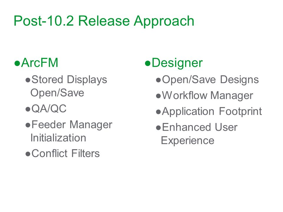 Post-10.2 Release Approach ArcFM Stored Displays Open/Save QA/QC Feeder Manager Initialization Conflict Filters Designer Open/Save Designs Workflow Ma