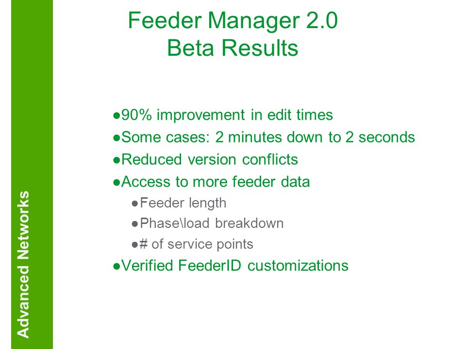 Feeder Manager 2.0 Beta Results 90% improvement in edit times Some cases: 2 minutes down to 2 seconds Reduced version conflicts Access to more feeder