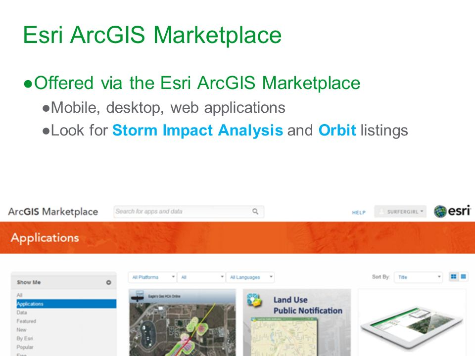Esri ArcGIS Marketplace Offered via the Esri ArcGIS Marketplace Mobile, desktop, web applications Look for Storm Impact Analysis and Orbit listings