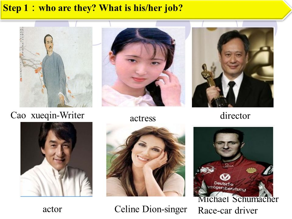Cao xueqin-Writer Michael Schumacher Race-car driver Step 1 who are they.