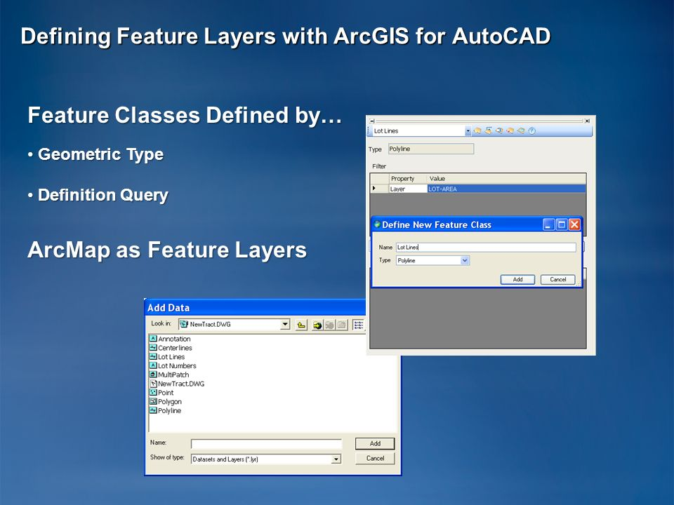 Defining Feature Layers with ArcGIS for AutoCAD Feature Classes Defined by… Geometric Type Geometric Type Definition Query Definition Query ArcMap as
