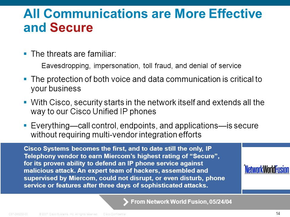 14 © 2007 Cisco Systems, Inc. All rights reserved.Cisco ConfidentialC97-393232-00 Cisco Systems becomes the first, and to date still the only, IP Tele