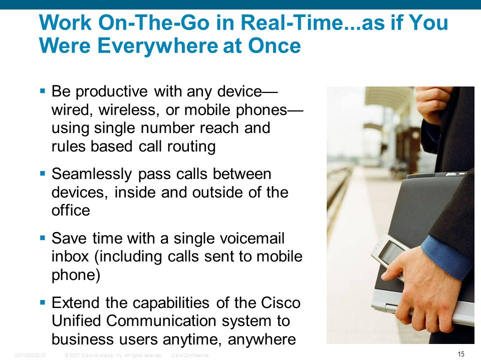 15 © 2007 Cisco Systems, Inc. All rights reserved.Cisco ConfidentialC97-393232-00 Work On-The-Go in Real-Time...as if You Were Everywhere at Once Be p