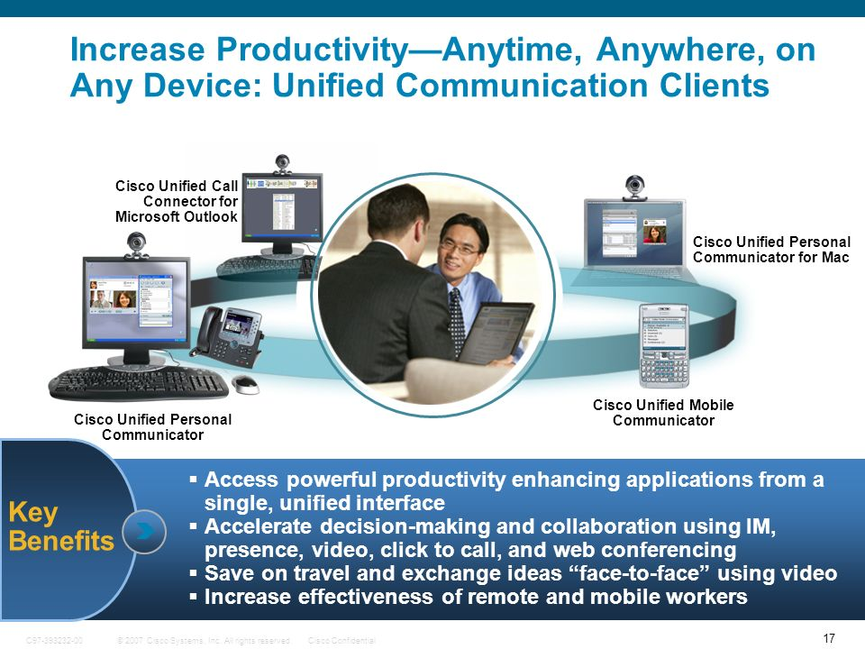 17 © 2007 Cisco Systems, Inc. All rights reserved.Cisco ConfidentialC97-393232-00 Key Benefits Increase ProductivityAnytime, Anywhere, on Any Device: