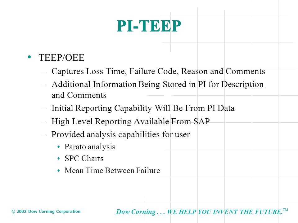 Dow Corning... WE HELP YOU INVENT THE FUTURE. TM © 2002 Dow Corning Corporation PI-TEEP TEEP/OEE –Captures Loss Time, Failure Code, Reason and Comment