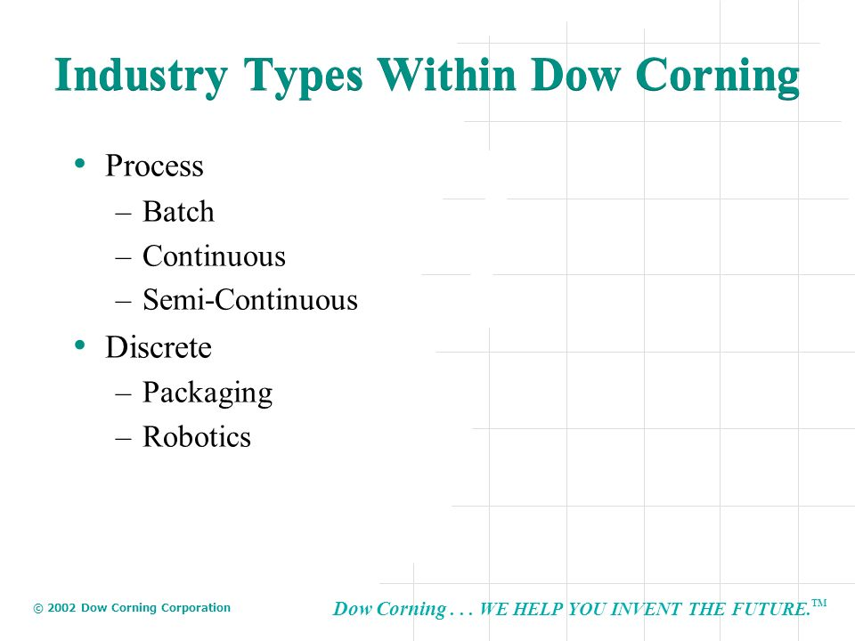 Dow Corning... WE HELP YOU INVENT THE FUTURE. TM © 2002 Dow Corning Corporation Industry Types Within Dow Corning Process –Batch –Continuous –Semi-Con
