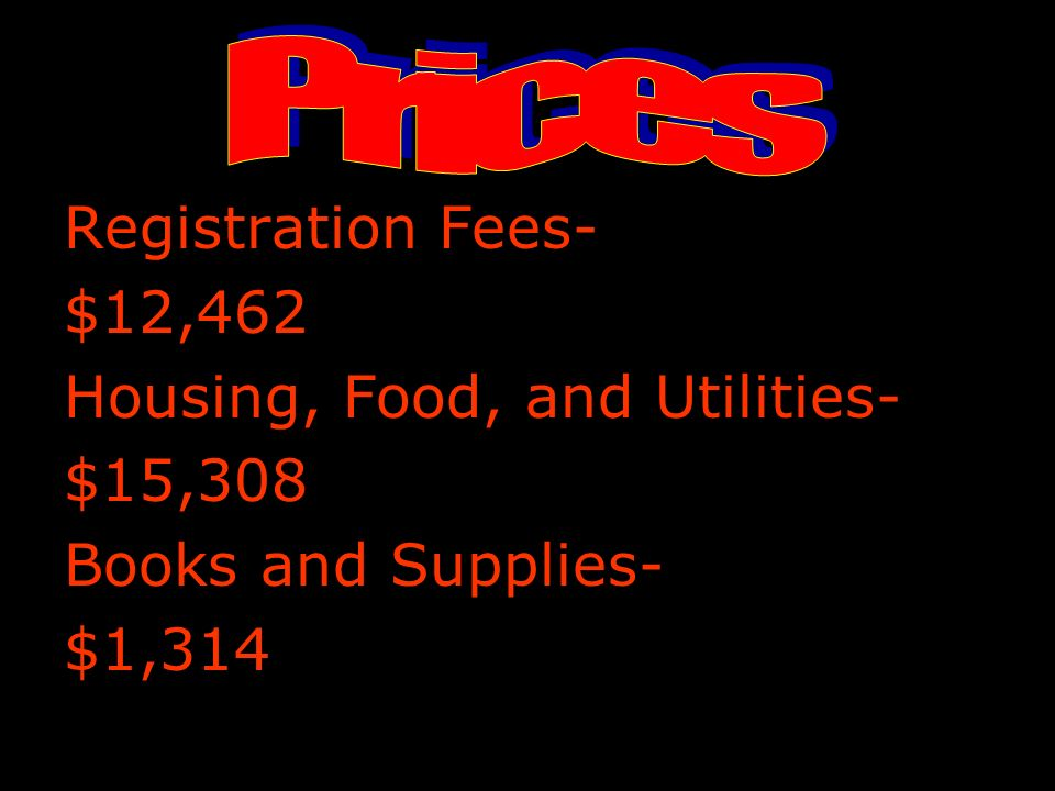 Registration Fees- $12,462 Housing, Food, and Utilities- $15,308 Books and Supplies- $1,314