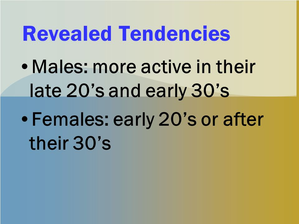Revealed Tendencies Males: more active in their late 20s and early 30s Females: early 20s or after their 30s