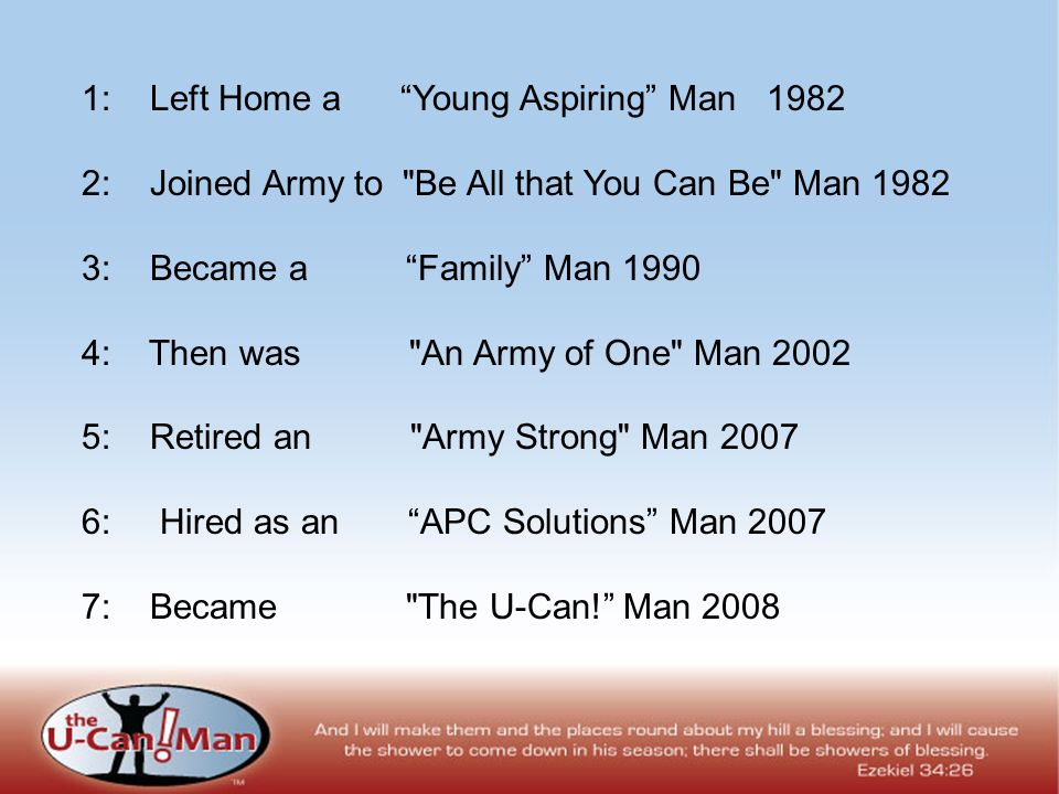 1: Left Home a Young Aspiring Man 1982 2: Joined Army to Be All that You Can Be Man 1982 3: Became a Family Man 1990 4: Then was An Army of One Man 2002 5: Retired an Army Strong Man 2007 6: Hired as an APC Solutions Man 2007 7: Became The U-Can.