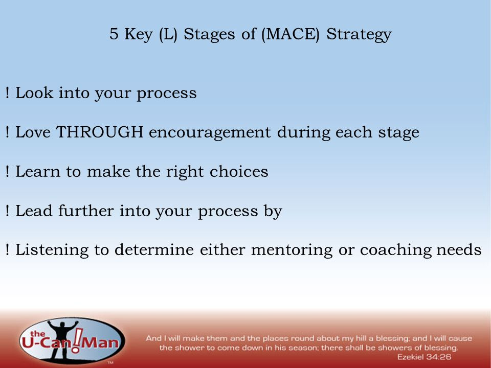 5 Key (L) Stages of (MACE) Strategy ! Look into your process ! Love THROUGH encouragement during each stage ! Learn to make the right choices ! Lead f