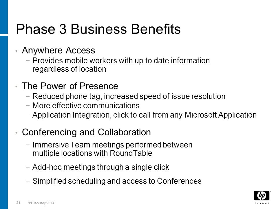 31 11 January 2014 Phase 3 Business Benefits Anywhere Access Provides mobile workers with up to date information regardless of location The Power of P