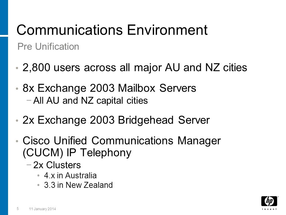 5 11 January 2014 Communications Environment 2,800 users across all major AU and NZ cities 8x Exchange 2003 Mailbox Servers All AU and NZ capital citi