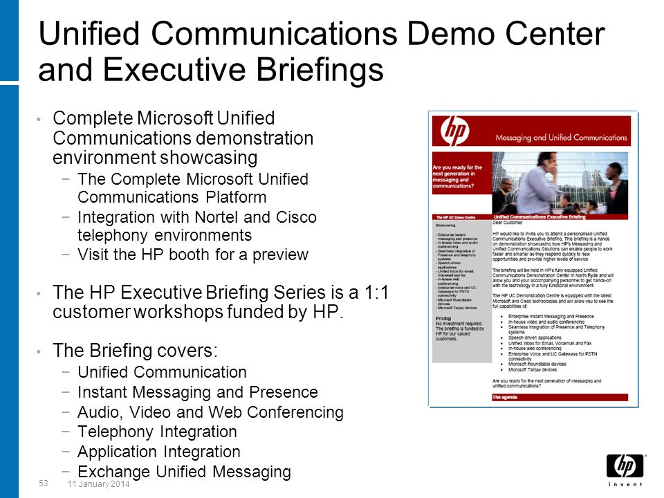 Unified Communications Demo Center and Executive Briefings Complete Microsoft Unified Communications demonstration environment showcasing The Complete