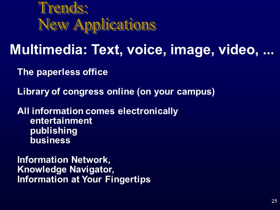 25 Trends: New Applications The paperless office Library of congress online (on your campus) All information comes electronically entertainment publis