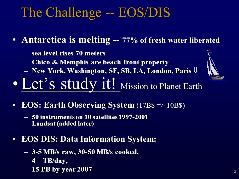 3 The Challenge -- EOS/DIS Antarctica is melting -- 77% of fresh water liberatedAntarctica is melting -- 77% of fresh water liberated –sea level rises