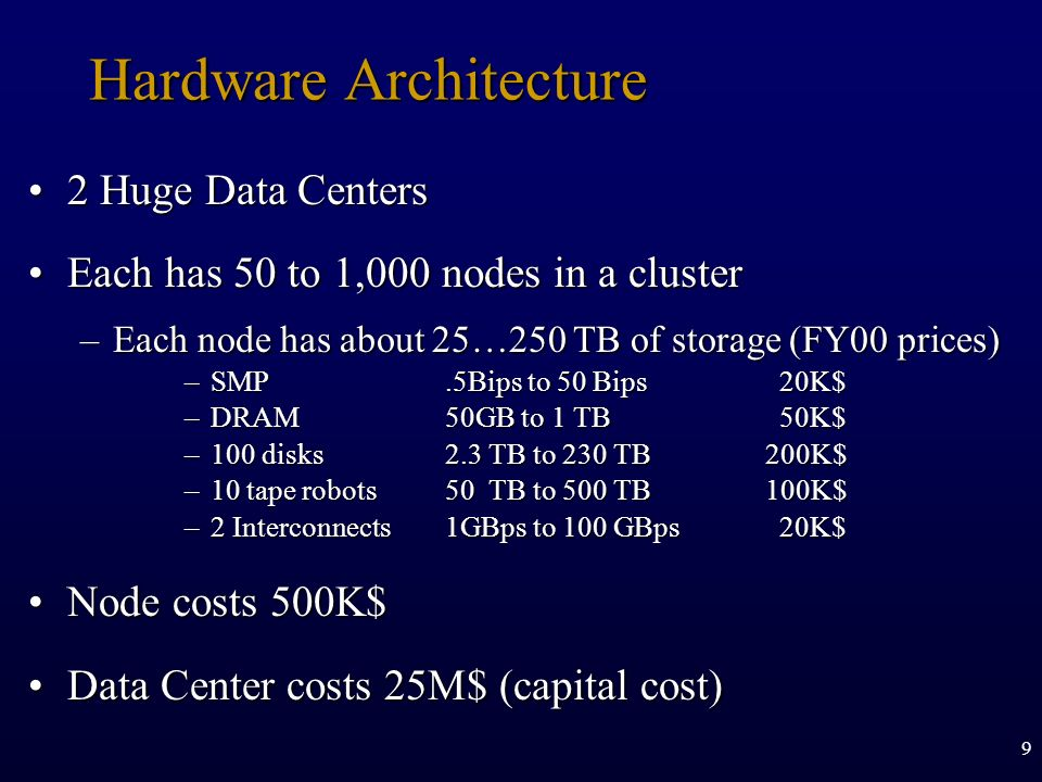 9 Hardware Architecture 2 Huge Data Centers2 Huge Data Centers Each has 50 to 1,000 nodes in a clusterEach has 50 to 1,000 nodes in a cluster –Each no