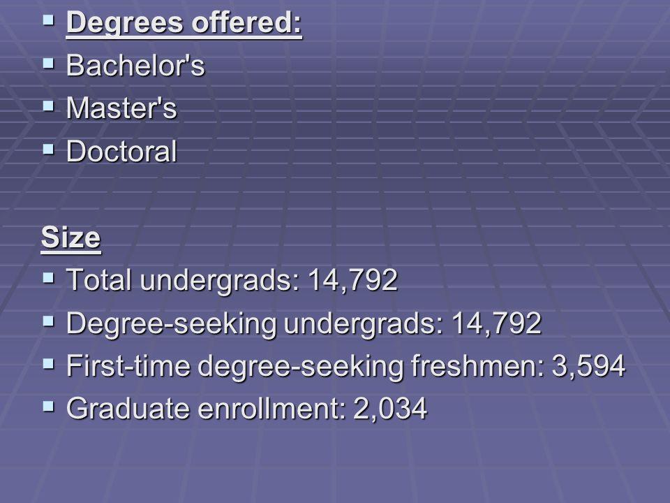 Degrees offered: Degrees offered: Bachelor's Bachelor's Master's Master's Doctoral DoctoralSize Total undergrads: 14,792 Total undergrads: 14,792 Degr
