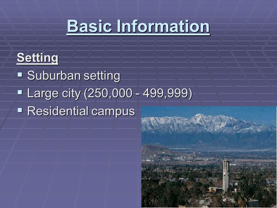 Basic Information Setting Suburban setting Suburban setting Large city (250,000 - 499,999) Large city (250,000 - 499,999) Residential campus Residential campus