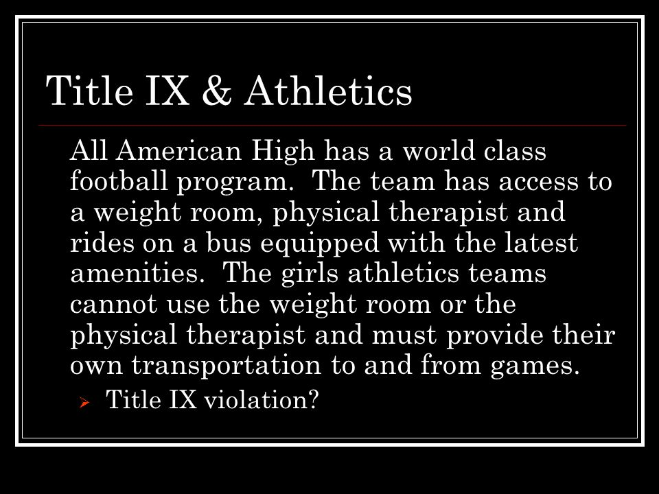 Title IX & Athletics Big issue: Booster Clubs.