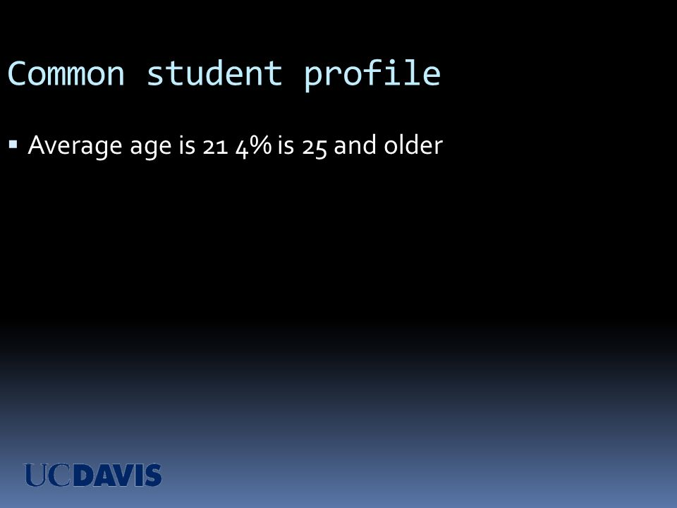 Common student profile Average age is 21 4% is 25 and older