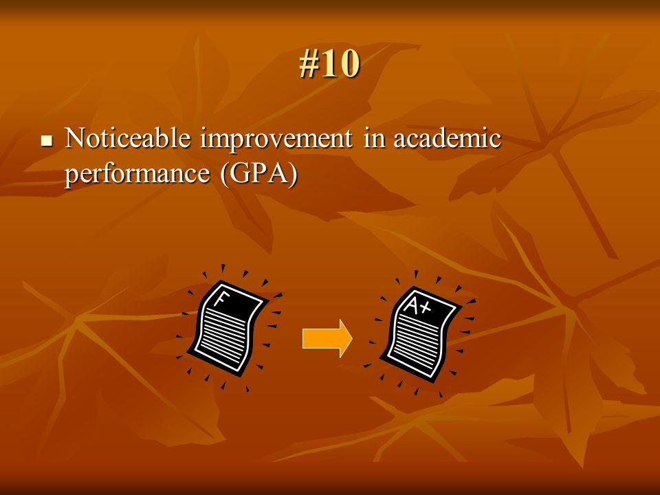 #10 Noticeable improvement in academic performance (GPA) Noticeable improvement in academic performance (GPA)