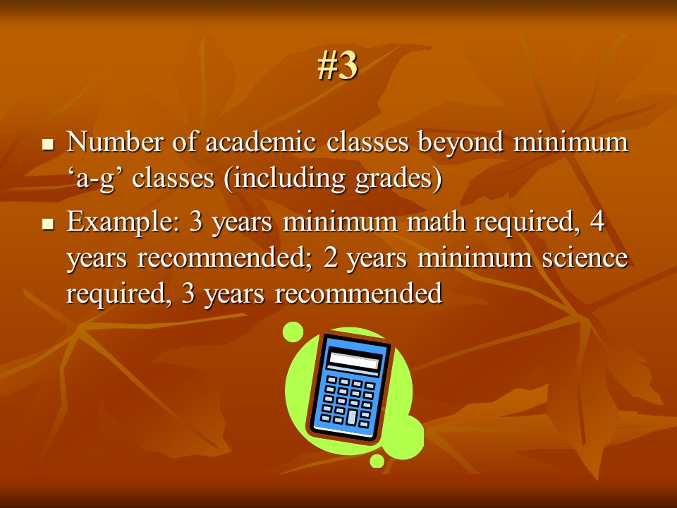 #3 Number of academic classes beyond minimum a-g classes (including grades) Number of academic classes beyond minimum a-g classes (including grades) E