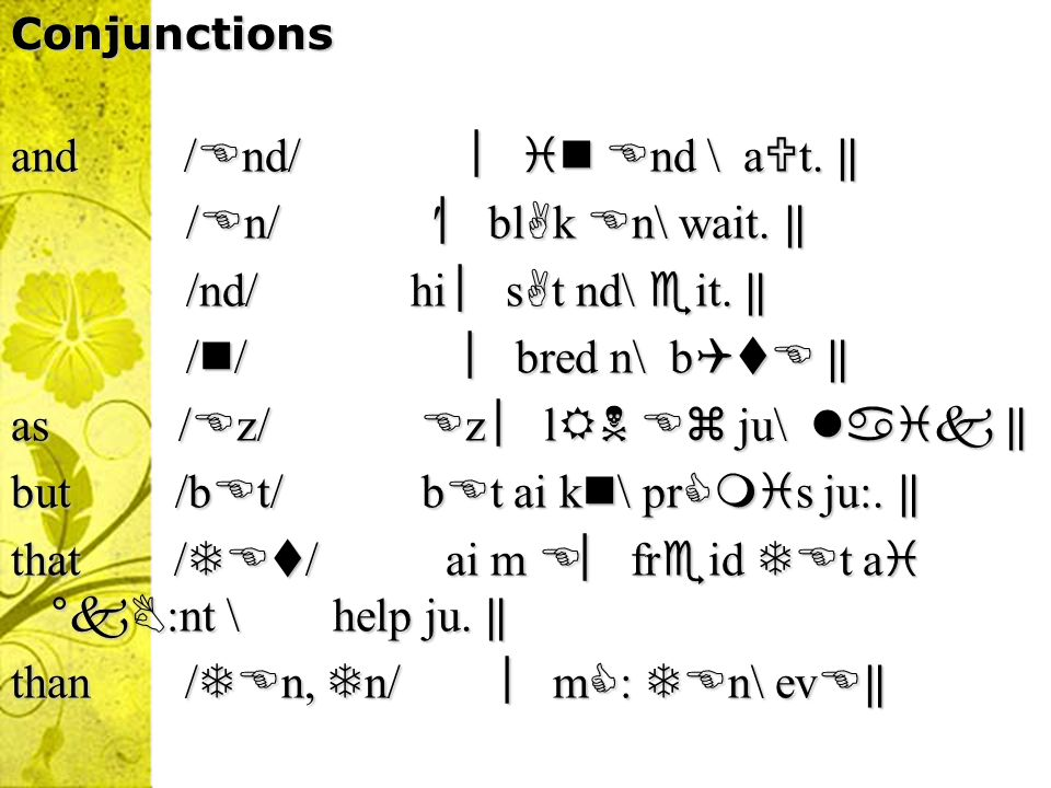 Conjunctions and / nd/ nd \ a t.and / nd/ nd \ a t.