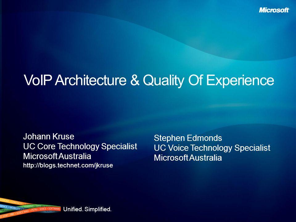 Resources Microsofts Quality of Experience White Paper http://www.microsoft.com/downloads/details.aspx?familyid=05625af1-3444-4e67-9557-3fd5af9ae8d1&displaylang=en Microsofts Quality of Experience White Paper http://www.microsoft.com/downloads/details.aspx?familyid=05625af1-3444-4e67-9557-3fd5af9ae8d1&displaylang=en Visit the OCS 2007 and Exchange Server 2007 Tech Centers http://technet.microsoft.com Visit the OCS 2007 and Exchange Server 2007 Tech Centers http://technet.microsoft.com Psytechnics Study http://www.psytechnics.com/page.php?id=060307&section=newsandevents/pressreleases/2007 Psytechnics Study http://www.psytechnics.com/page.php?id=060307&section=newsandevents/pressreleases/2007 Check out my blog.