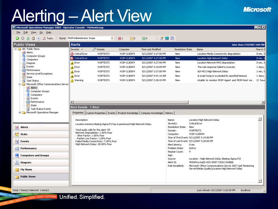 Unified. Simplified. Alerting – State View