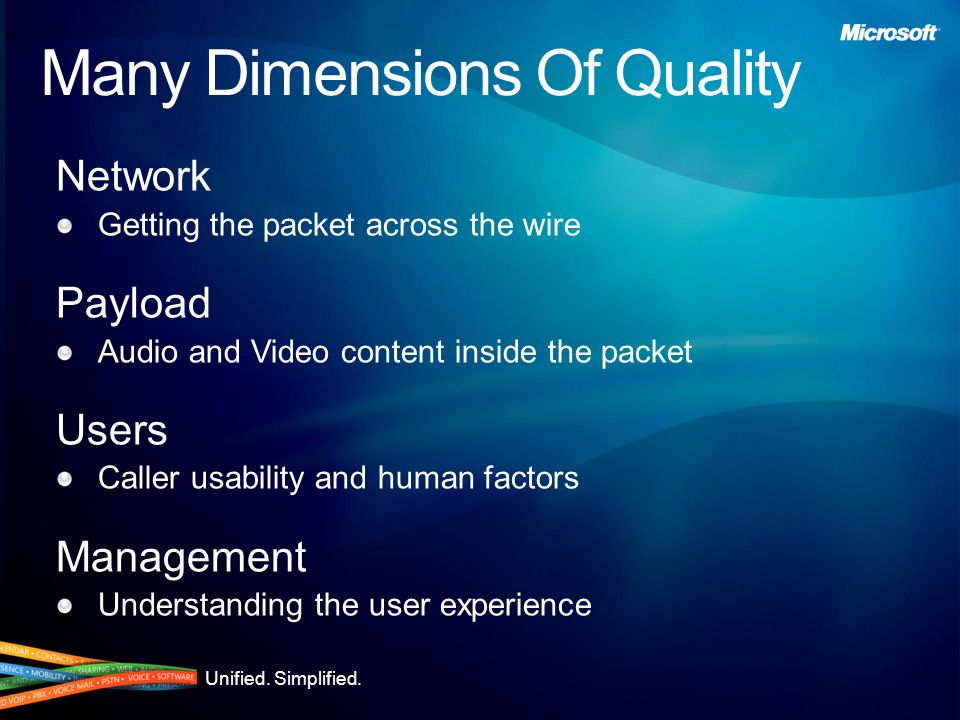 Unified. Simplified. Product Overview: Media Office Communications Server 2007 Provides audio and video conferencing for ad-hoc and prescheduled meeti