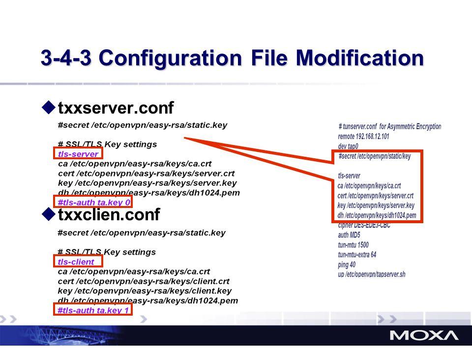 3-4-3 Configuration File Modification txxserver.conf txxclien.conf