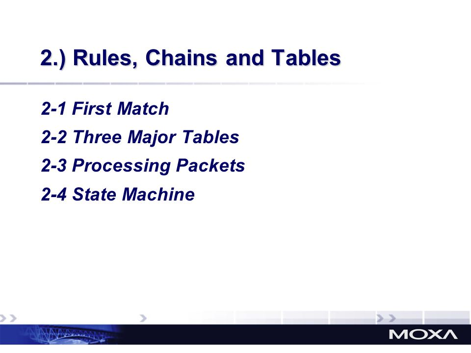 2.) Rules, Chains and Tables 2-1 First Match 2-2 Three Major Tables 2-3 Processing Packets 2-4 State Machine