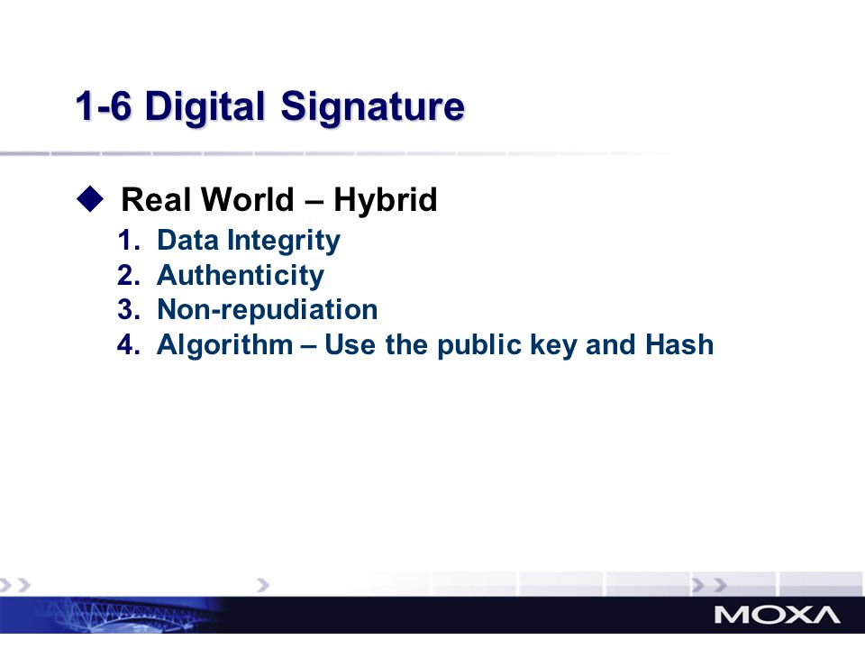 1-6 Digital Signature Real World – Hybrid 1.Data Integrity 2.Authenticity 3.Non-repudiation 4.Algorithm – Use the public key and Hash