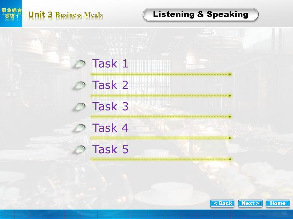 Listening Listening & Speaking Task 1 Task 2 Task 3 Task 4 Task 5