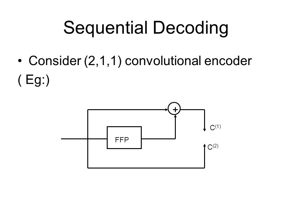 Sequential Decoding Consider (2,1,1) convolutional encoder ( Eg:) C (1) C (2) FFP