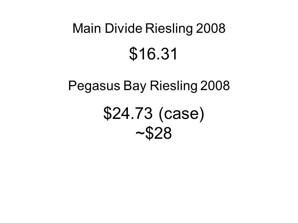 Main Divide Riesling 2008 Pegasus Bay Riesling 2008 $16.31 $24.73 (case) ~$28